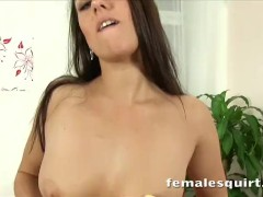 Gorgeous brunette Mea Melone toying with her pussy until she squirts