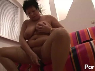Curvy Mama Pleasures Herself and Gets Cummed On