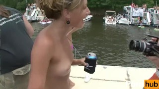 NAKED BOAT BASH 1 - Scene 7  outside booty blonde public skinny young brunette butt shaved group pornhub.com lake exhibitionist boat flashing girlongirl