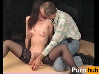 Sexy brunette plays with her clit