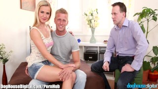 DogHouse Bi -Curous Couple Has First Threesome  bi curious ass fucking big cock amateur blowjob blonde taboo bi bisexual mmf european threesome anal natural tits