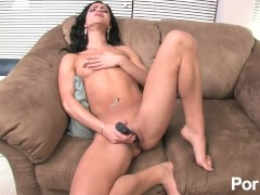 Tiny Tits brunette Alyssa Reece Toys Her Clit And Has Smiling Orgasm