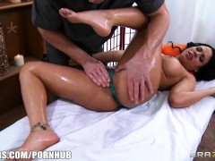 Luna Star is oiled up and fucked hard by her big-dick masseur