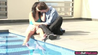 Lovely young couple window sex