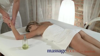 Massage Rooms Young tiny teen has deep intense orgasm