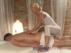 Massage Rooms Masseuse has a squirting orgasm as she rides client hard