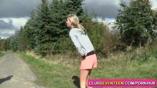 Young blondie likes jogging and fucking