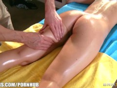 Lily Carter is oiled up & fucked in the ass by her dirty masseur