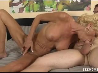 Horny Mature Lady Sucks A Big Cock