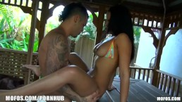 SEXY Latina turns a backyard pool party into a hot tub orgy