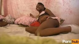 Cute Ebony Teen Sucks Cock Till He Cums On Her Face