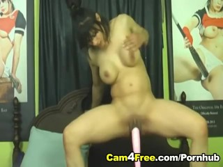 Dildo Drill Penetrates her Pussy HD