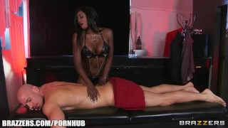 Preview 2 of Curvy Ebony masseuse oils herself up for some deep anal