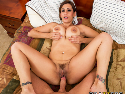Stunning busty MILF is seduced and fucked by her son's friend