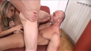 Bi Now Gay Later 2 - Scene 4  ass fucking euro blonde blowjob cumshot tattoo small tits big dick bi heels shaved anal pornhub.com pussy licking bubble butt couch