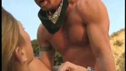 Blonde cowgirl fucked outside on ranch