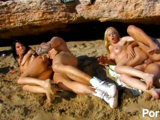 Two bros seduce and fuck a couple of cumsluts on the beach