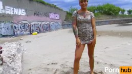 Baby Reed the tattooed punk latina fucks hard by the beach