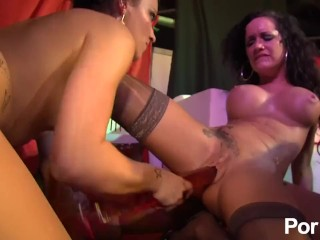 Jordanne Kali and Penelope Tiger cum hard in this public fuckfest