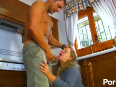 Mature maid gets fuck by her spanish stallion master
