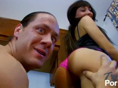 Petite french whore gets fucked in the kitchen by big spanish cock