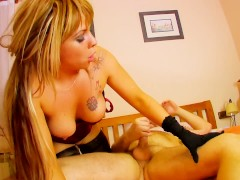Hot busty latina in stockings gets fucked in the ass and cums hard