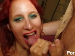 Smoking hot french red-head loves to suck and fuck