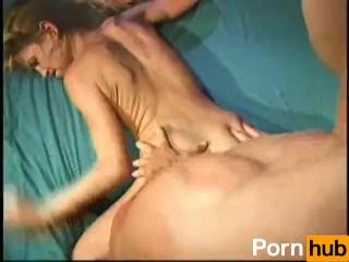 Skinny blonde banged hard on Dad's bed by boyfriend
