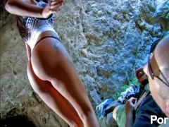 French babe gets anal banged outside cave
