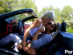 Tattooed blonde French girl sucks and fucks outdoors