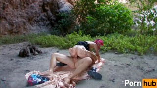 Redhead French punk girl loves outdoor fucking  on all fours anal fucking reverse cowgirl french fingering pornhub.com cocksucking punk collar spooning shaved gagging facial