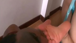 Interracial foot licking and choking  feet trampling femdom fetish amateur pornstar