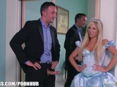 Slutty blonde pornstar Tasha Reign is double teamed and DP'd