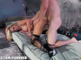 Busty blonde nurse fucks rides her patient's long hard cock