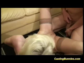 Casting blonde bunny sucking big cock and fucking hard