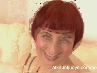 46 -Year-old MILF touches her horny bold pussy