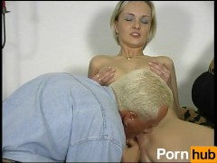 Skinny German girl has massive tits