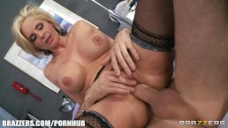 Submissive blonde doctor finds a patient to fuck her brains out