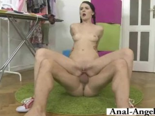 She rides his dick like a crazy whore!
