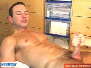 Marco, a swimmer guy get massaged and get wanked his horny dick by me!