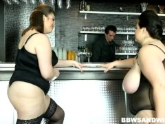 Strapon male domination performed by 2 BBW dominas