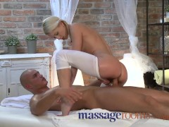Massage Rooms Uma expertly massages two hard cocks to an intense climax