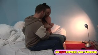 Ponytailed teenage beautie fucked on the bed