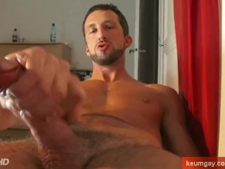 Andrea real italian stalion get wanked his huge cock by a keumgay guy !