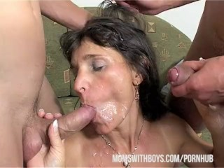 Mama Rewards Two Boys' Hard Work With Hot DP Action!!