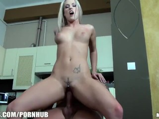 Cute blonde rides a hard and long dick 8