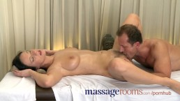 Massage Rooms Wet shaved pussy licked before big cock slides deep inside