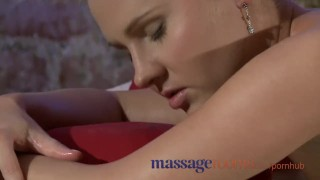 Massage Rooms Tight shaved pussies rubbed together before a heavy orgasm