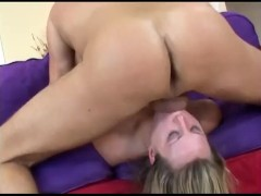Horny blonde milf with nice tits does anal in black thigh high stockings