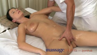 Preview 6 of Massage Rooms Big natural tits oiled up before girls get deep hard pumping